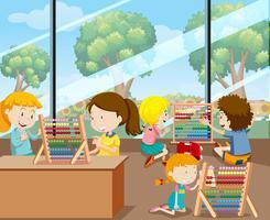 Schüler lernen mit Abacus vektor