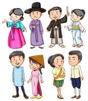 Människor i olika länder i sina kostymer