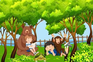 Kinder und Tier in der Natur vektor