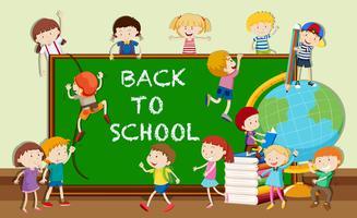 Tillbaka till skolatemat med studenter och böcker vektor