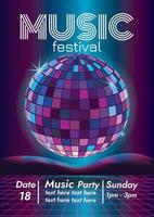 Musikdisco Musikfestival Poster für Party vektor
