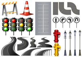 Verschiedene Gegenstände und Sicherheitsausrüstung für den Verkehr vektor