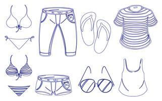 Olika kläder för sommaren vektor