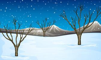 Feld mit Schnee bedeckt vektor