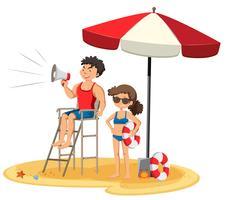 Livräddare på stranden på vit bakgrund vektor