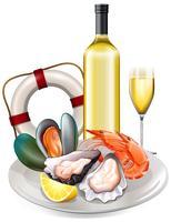 Mahlzeit von Meeresfrüchten mit Weißwein vektor