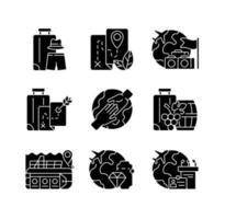 Arten von Tourismus schwarze Glyphensymbole auf weißem Raum vektor