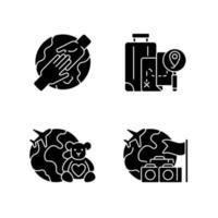Reisen schwarze Glyphensymbole auf Leerraum gesetzt vektor