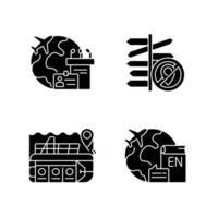 Kategorien von Reisen schwarze Glyphensymbole auf weißem Raum vektor