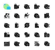 Arten von Reisen schwarze Glyphensymbole auf weißem Raum vektor
