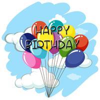 Grattis på födelsedagen kortmall med ballonger i himmel