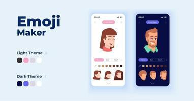 Emoji-Hersteller-Cartoon-Smartphone-Schnittstellenvektorvorlagensatz vektor