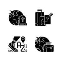 Tourismus schwarze Glyphensymbole auf weißem Raum vektor