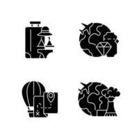 internationale Reise schwarze Glyphensymbole auf weißem Raum vektor