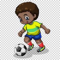Fotbollsspelare spelar fotboll på transparent bakgrund