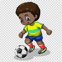 Fußballspieler, der Fußball auf transparentem Hintergrund spielt