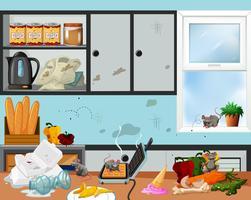 Ett smutsigt och osanitärt kök