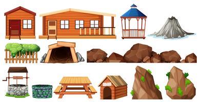 Sats av hus och trädgårdsarbete