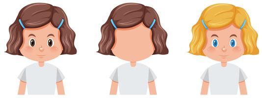 Set av tjej med olika frisyr vektor