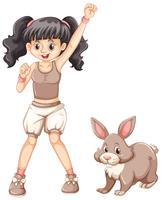 Söt tjej och liten kanin vektor