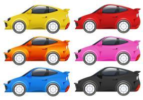 Racingbilar i sex olika färger