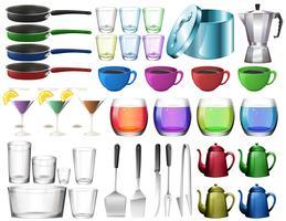 Küchengeschirr mit Gläsern vektor