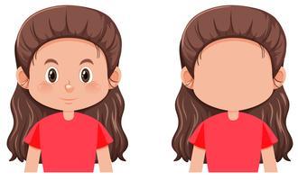 En lång hår brunett tjej karaktär vektor