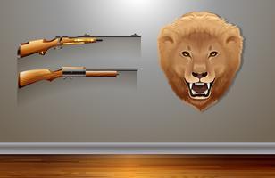 Hängender Löwenkopf an der Wand