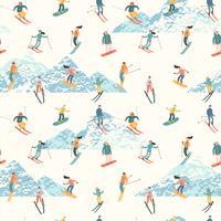 Vektorillustration von Skifahrern und von Snowboardern. Nahtloses Muster