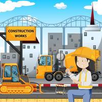Mekanisk ingenjör vid Byggnadssidan vektor