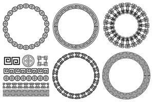 Många kantdesigner med asiatiska mönster vektor