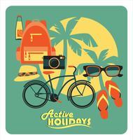 Vektor illustration av aktiv sommarlov.