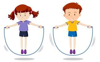 Jungen und Mädchen überspringen vektor