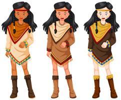 Indianerinnen in traditionellen Kostümen vektor