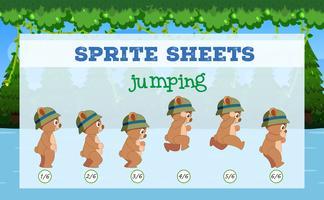 Sprite Sheets björnhoppning vektor