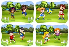 Glückliche Kinder, die im Park spielen vektor