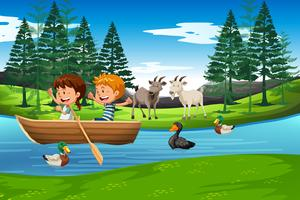 Barn i en båtplats vektor