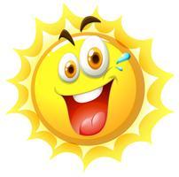 En glad sol på vit bakgrund