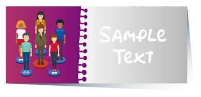 Businesscard mit infographic Design von Leuten im Hintergrund
