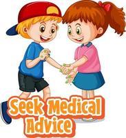 Zwei Kinder halten keine soziale Distanz ein, indem sie ärztlichen Rat einholen vektor