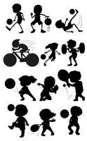 Set av silhuett atlet karaktär