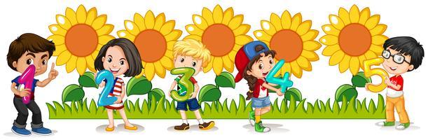 Zahlen zählen mit glücklichen Kindern und Sonnenblumen vektor