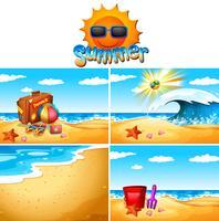 Bakgrundsscenarier med strand och hav vektor