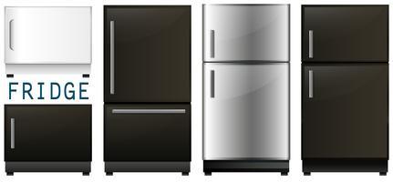 Set av kylskåp i olika utföranden vektor