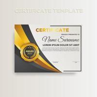 modernes Farbverlaufszertifikat-Vorlagendesign mit Goldfarbe vektor