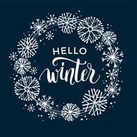 Vinter bokstäver design på snö bakgrund med handgjord snöflinga ram. vektor