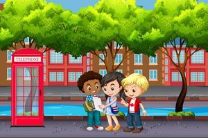 Internationella barn i staden vektor