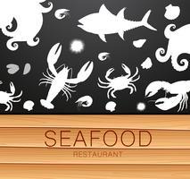Frisk skaldjur siluettmall vektor