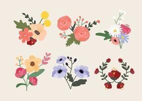 Blumenschmuck. Handzeichnung Stil Blumenillustration. vektor