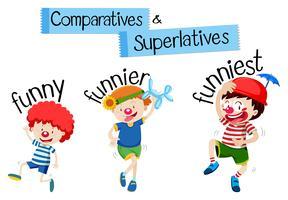 Comparatives und Superlative Wort für lustig vektor